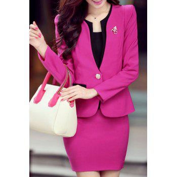Graceful Women's Scoop Collar Long Sleeve Slimming One Button Blazer + Solid Color Skirt Suit