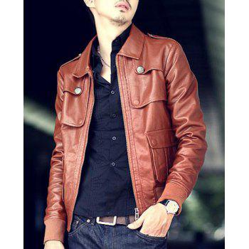 Stereo Pocket Rib Spliced Button Epaulet Design Detachable Fur Collar Long Sleeves Men's PU Leather Jacket - DEEP BROWN DEEP BROWN
