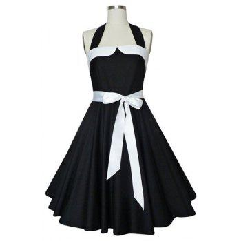 Vintage Women's HalterneckSelf-Tie A-Line Dress