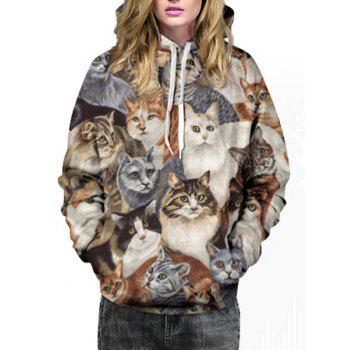 Cute Hooded Kitten Print Long Sleeve Hoodie For Women