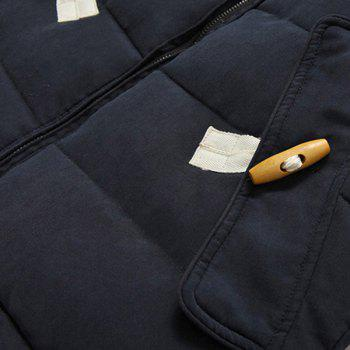 Personality Button Patch Pocket Solid Color Slimming Hooded Long Sleeves Men's Coat - 3XL 3XL