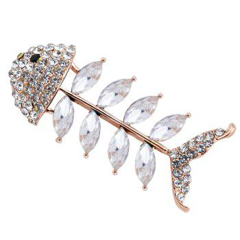 Characteristic Rhinestoned Faux Crystal Fishbone Shape Brooch For Women