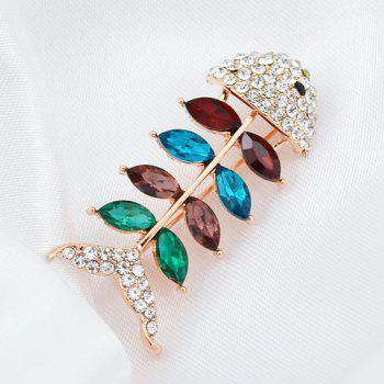 Characteristic Rhinestoned Faux Crystal Fishbone Shape Brooch For Women -  RANDOM COLOR