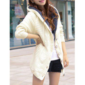 Trendy Long Sleeve Hooded Single-Breasted Women's Cardigan