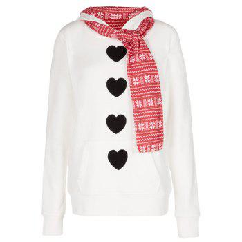 Stylish Hooded Long Sleeve Self Tie Design Heart Pattern Women's Hoodie