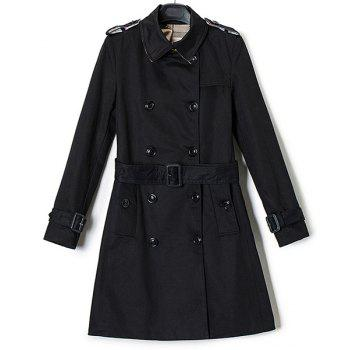 Trendy Long Sleeve Turn-Down Neck Double-Breasted Women's Trench Coat