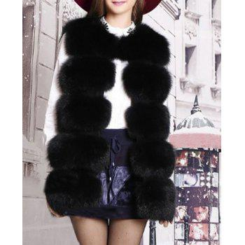 Chic Sleeveless Round Neck Solid Color Faux Fur Women's Waistcoat - BLACK BLACK