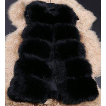 Chic Sleeveless Round Neck Solid Color Faux Fur Women's Waistcoat - BLACK S