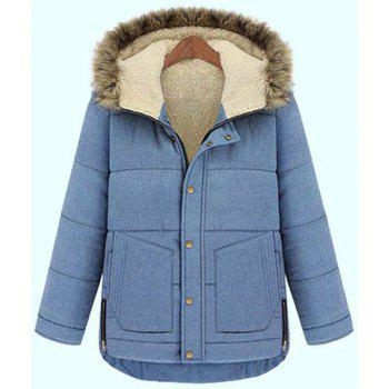 Chic Style Light Blue Button Design Hooded Long Sleeve Coat For Women