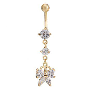 Sweet Rhinestone Butterfly Tassel Navel Button For Women