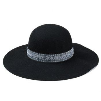Chic Ethnic Rhombus Strappy Embellished Women's Felt Vintage Hat -  BLACK
