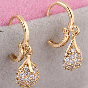 Pair of Rhinestoned Water Drop Earrings - GOLDEN
