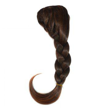 Attractive Heat Resistant Synthetic Clip In Capless Women's Long Braided Side Bang -  BROWN M