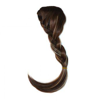 Attractive Heat Resistant Synthetic Clip In Capless Women's Long Braided Side Bang - BROWN BLONDE MIXED 8H613# BROWN BLONDE MIXED H