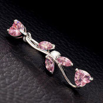 Stylish Rhinestone Leaf Navel Button For Women -  PINK
