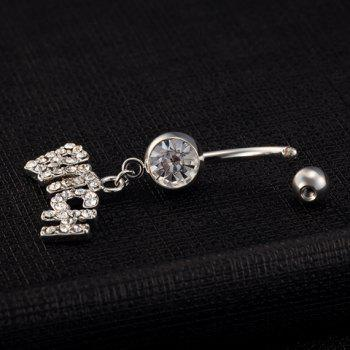 Chic Rhinestone Letter Navel Button For Women - WHITE