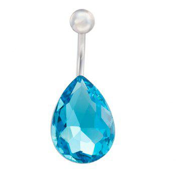 Delicate Faux Sapphire Waterdrop Navel Button For