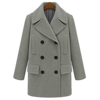 Noble Lapel Long Sleeve Solid Color Thick Peacoat For Women