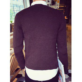Color Block Splicing Design V-Neck Single-Breasted Long Sleeve Men's Cardigan - COFFEE 2XL