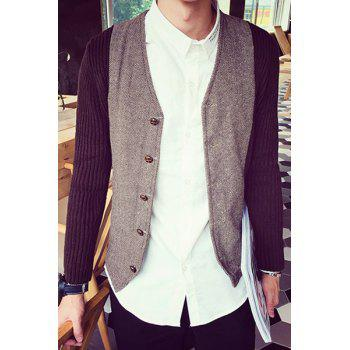Color Block Splicing Design V-Neck Single-Breasted Long Sleeve Men's Cardigan