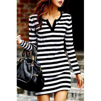Chic Long Sleeve V Neck Striped Women's Dress