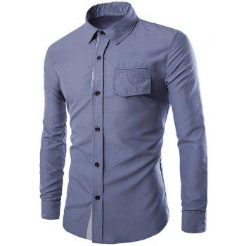 Color Block Striped Button Fly Flap Pocket Shirt Collar Long Sleeves Men's Slimming Shirt