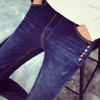 Buttons Embellished Zipper Fly Narrow Feet Slimming Men's Jeans - BLUE 36