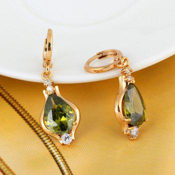 Pair of Vintage Faux Gemstone Water Drop Shape Earrings - GREEN