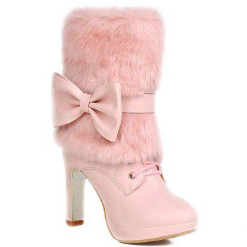 Fresh Style Lace-Up and Bowknot Design Short Boots For Women