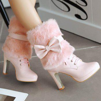 Fresh Style Lace-Up and Bowknot Design Short Boots For Women - PINK 37