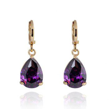 Pair of Trendy Colored Faux Crystal Water Drop Shape Earrings For Women