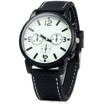 Military Style Men Car Racing Sports Quartz Watch with Silicone Watchband