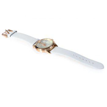 SKONE 9399 Women Big Number Rhinestone Stereo Rose Dial Quartz Watch Hollow Pointer - WHITE