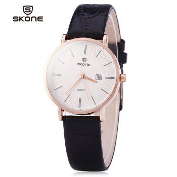 SKONE 9307 Ultrathin Leather Quartz Women Watch