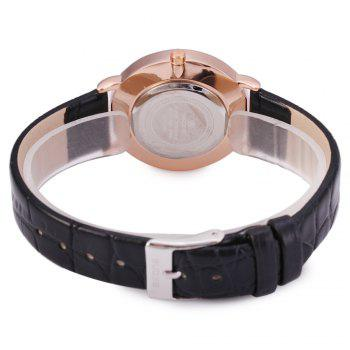 SKONE 9307 Ultrathin Leather Quartz Women Watch - BLACK