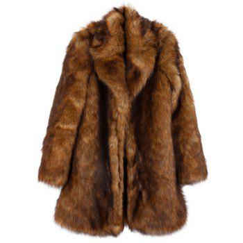 Stylish Fake Fur Long Sleeve Turn-Down Collar Coat For Women - AS THE PICTURE XL