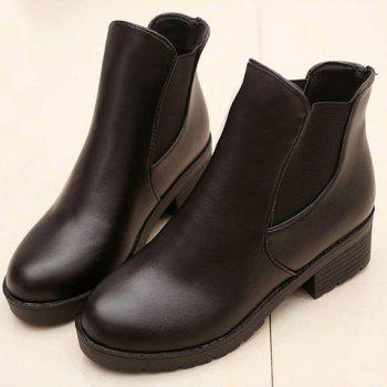 Concise Elastic and Black Design Ankle Boots For Women - BLACK 39