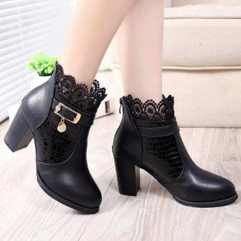 Trendy Lace and Stone Pattern Design Short Boots For Women - BLACK 40