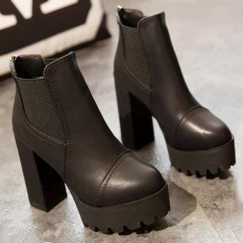 Vintage Elastic and Chunky Heel Design Ankle Boots For Women - BLACK 38