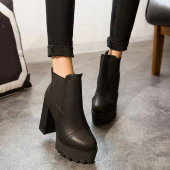 Vintage Elastic and Chunky Heel Design Ankle Boots For Women - BLACK 37