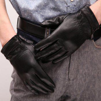 Pair of Stylish Button and Pleated Embellished Black Thicken PU Gloves For Men