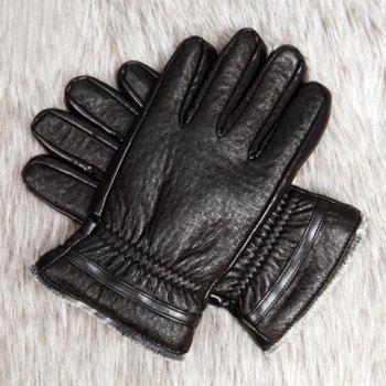 Pair of Stylish Pleated Embellished Cycling Black Thicken PU Gloves For Men