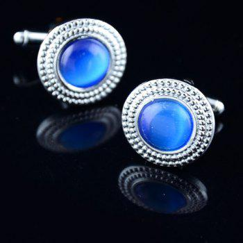 Pair of Fashionable Faux Gemstone Round Shape Cufflinks For Men -  COLOR ASSORTED