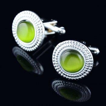 Pair of Fashionable Faux Gemstone Round Shape Cufflinks For Men - COLOR ASSORTED COLOR ASSORTED