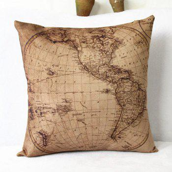 Decorative Pillows Without Covers : Classical Linen World Map Pattern Decorative Pillowcase(Without Pillow Inner), KHAKI in ...