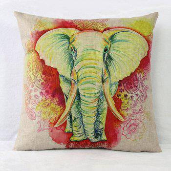 Lovely Elephant Pattern Printed Square Composite Linen Blend Pillow Case