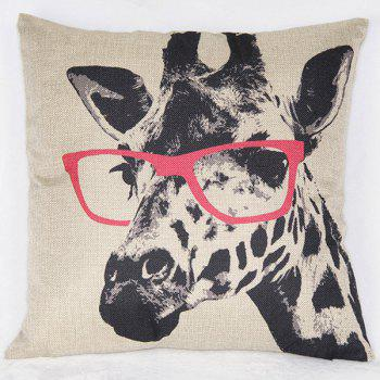Fashionable Giraffe Pattern Printed Square Synthesis of Linen Pillow Case