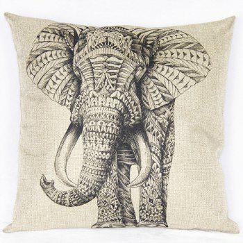 Lovely Elephant Printed Square New Composite Linen Blend Pillow Case