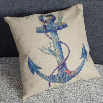 Stylish Anchor Printed Square New Composite Linen Blend Pillow Case - BLUE