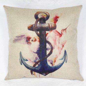 Modern Square Ancre and Bird Pattern Pillowcase(Without Pillow Inner)